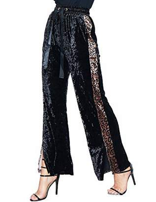 Women Straight Palazzo Drawstring Pants Lounge Velvet Trousers with Pockets L