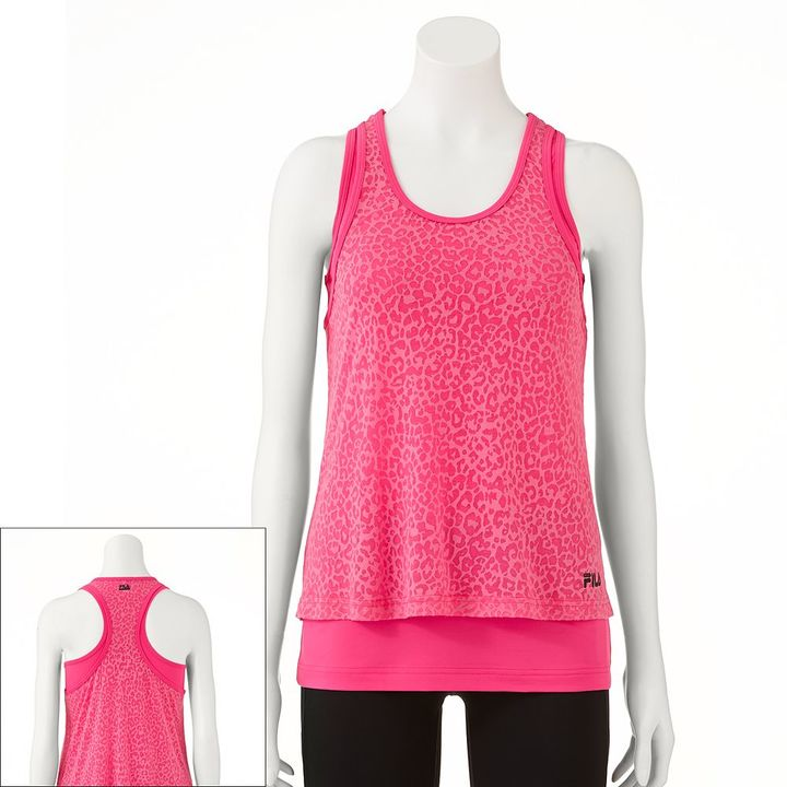 Fila sport ® double-layer cheetah racerback tank - women's