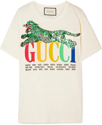 Gucci Oversized Embellished Printed Cotton-jersey T-shirt - Ivory