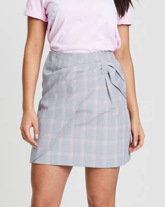 Oasis Pastel Check Bow Mini Skirt