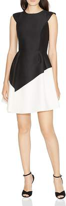 Halston Color-Blocked Fit-and-Flare Dress