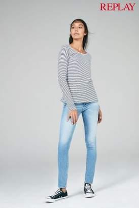 Next Womens Replay White/Navy Stripe Long Sleeve Top