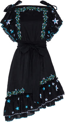 Gül Hürgel Embroidered Linen Apron Mini Dress Size: XS