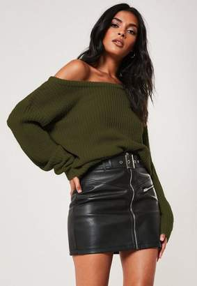 Missguided Khaki Off Shoulder Knit Sweater
