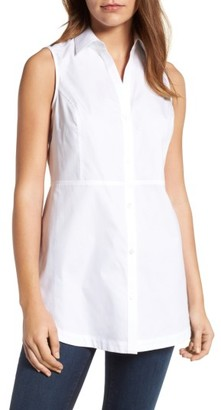 Women's Foxcroft Sleeveless Cotton Tunic $79 thestylecure.com