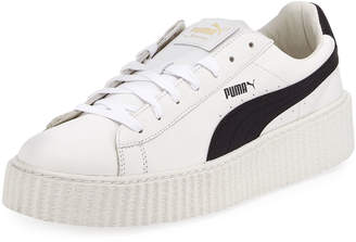 Puma x Fenty by Rihanna Men's Cracked Leather Creeper Sneakers, White
