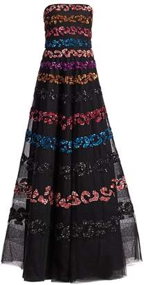 Ahluwalia Strapless Multicolor Sequin Gown