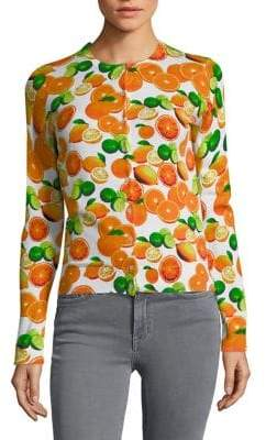 Lord & Taylor Petite Citrus-Print Cotton Cardigan