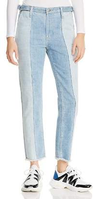 AG Jeans Isabelle Paneled Straight Jeans in Infamous