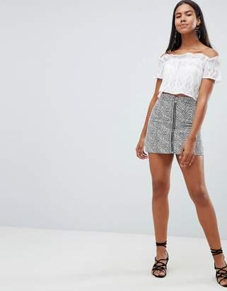 Rare London zebra printed a-line mini skirt