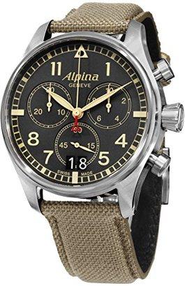 Alpina Startimerパイロットクロノグラフグレーダイヤルファブリックメンズ時計al-372bgr4s6