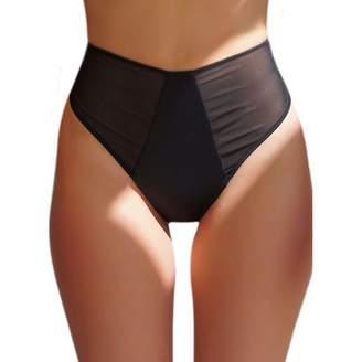 ZOHAMUNG Womens Mesh Brazilian High Cut Cheeky High Waist Bikini Bottoms Bathing Suits Thongs(M)