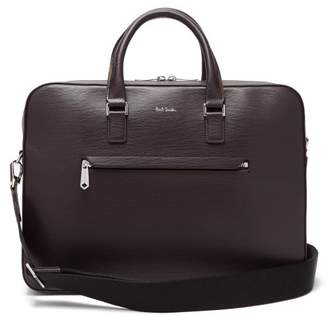 Textured Leather Briefcase - Mens - Burgundy