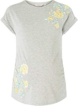 Dorothy Perkins Womens **Maternity Grey Embellished Turn Back Cuff T-Shirt