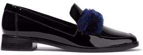 Loeffler Randall Greta Shearling-Trimmed Patent-Leather Loafers