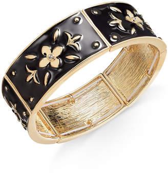 Thalia Sodi Gold-Tone Black Enamel Flower Stretch Bracelet
