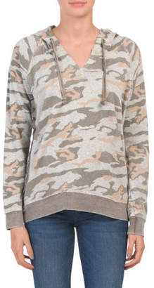 Juniors Side Lace Up Camo Hoodie