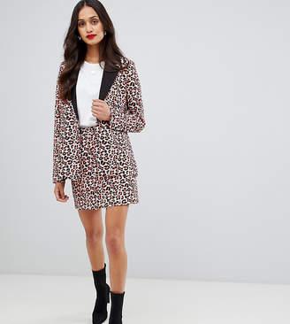 UNIQUE21 mini skirt in orange leopard two-piece