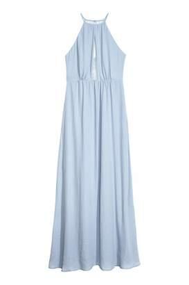 H&M Long Dress with Lace Back - Light dusky blue - Women