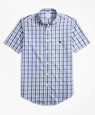 Brooks Brothers Non-Iron Regent Fit Outline Check Short-Sleeve Sport Shirt