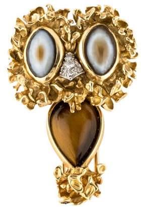 18K Tiger's Eye, Agate & Diamond Owl Brooch yellow 18K Tiger's Eye, Agate & Diamond Owl Brooch
