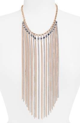 Natasha Crystal & Chain Fringe Necklace