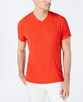 INC International Concepts I.n.c. Men V-Neck Textured Stripe T-Shirt