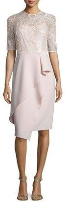 Rickie Freeman for Teri Jon Half-Sleeve Lace Ruffled Cocktail Dress $695 thestylecure.com