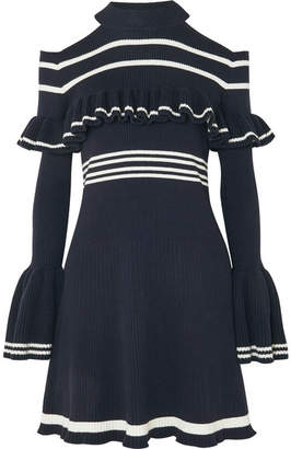 69538326670 Self-Portrait Cold-shoulder Ruffled Striped Ribbed-knit Mini Dress - Navy