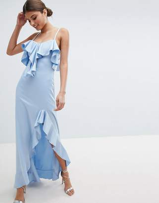 Jessica Wright Cold Shoulder Maxi Dress With Frill Detail & Side Slit