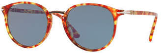 Persol Men's PO3210S Oval Acetate Keyhole Sunglasses - Solid Lenses