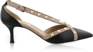 Valentino Rockstud d'Orsay Black Leather Mid Heel Pumps