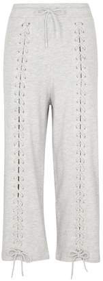 McQ Cropped Lace-up Jersey Jogging Trousers