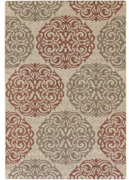 COURISTAN INC Five Seasons Montecito Cream/ Coral Red Rug (7'6 x 10'9)