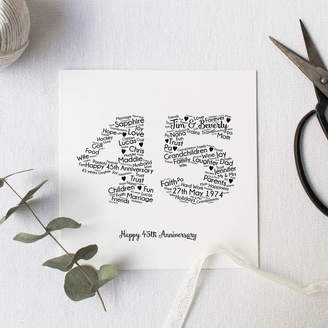 Hope and Love Personalised 45th Wedding Anniversary Gift