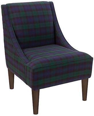One Kings Lane Quinn Swoop-Arm Accent Chair - Navy Plaid