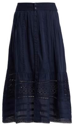 Sea Embroidered cotton midi skirt