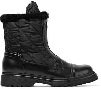 Moncler Alexandra Shearling-trimmed Shell And Leather Ankle Boots - Black