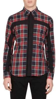 Givenchy Cross-Inset Plaid Button-Down Shirt