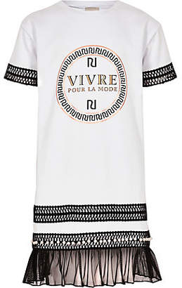 River Island Girls White RI embroidered T-shirt dress