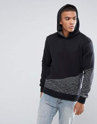 Jack and Jones Core Hoodie With Block Panel and Hood Contrast Detail