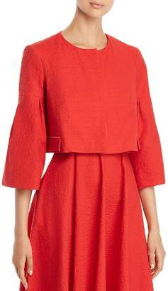 Paule Ka Cropped Textured Flared Sleeve Jacket