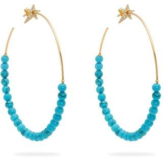 Diane Kordas Diamond, Turquoise & Rose Gold Hoop Earrings - Womens - Blue