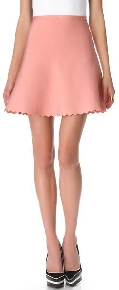 Herve Leger Scalloped A Line Skirt