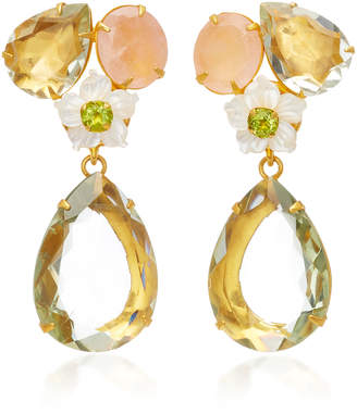 Bounkit 14K Gold-Plated Brass Rose Quartz Green Amethyst White Mother of Pearl Earrings
