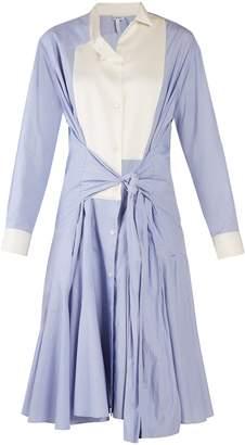Loewe Asymmetric-collar tie-waist cotton shirtdress
