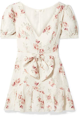 LoveShackFancy Lena Bow-embellished Floral-printed Linen Mini Dress - Cream