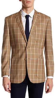 English Laundry Brown Windowpane Two Button Notch Lapel Suit Separates Jacket $395 thestylecure.com