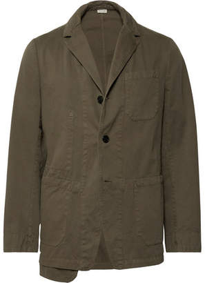 Dries Van Noten Army-Green Cotton-Twill Blazer