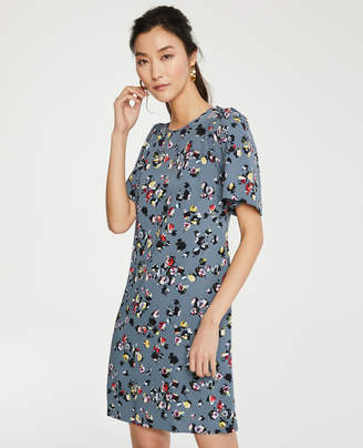 Ann Taylor Winter Floral Flare Sleeve Shift Dress